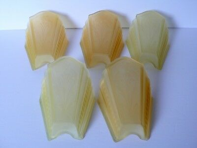 Set of 5 Art Deco Amber Glass Wall Sconce Chandelier Light Fixture Slip Shades
