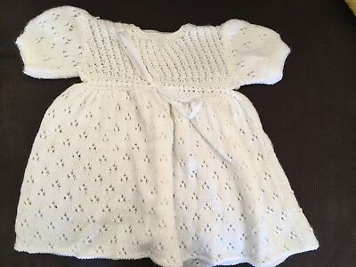 White Knit Baby Dress Christening Outfit