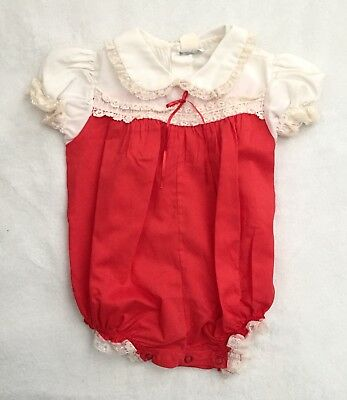 Vintage Bryan Baby Girl's Red & White Lace With Bow Fancy Holiday Romper
