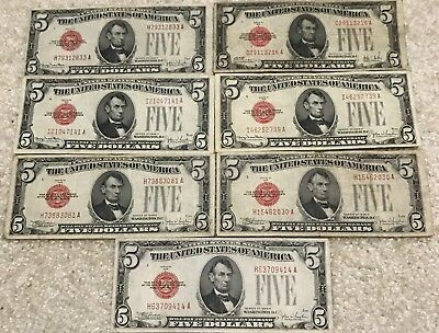 Extremly Rare 7 Bills of $5 1928 United States Note