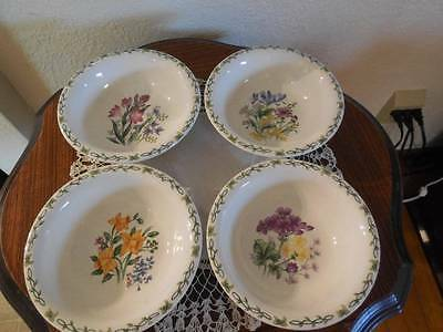 4 Thomson Pottery Floral Garden Soup Cereal Bowls