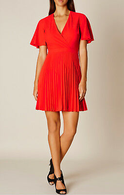 6a7e55aa99 KAREN MILLEN RED Crepe Stretch Colourful Cocktail Skater Mini Party ...