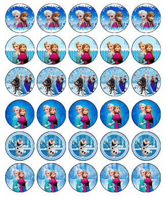 30 FROZEN Cupcake Edible Wafer Paper Birthday Party Cake Decoration Toppers #1