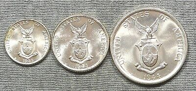 Lot Of 3 Nice 1944 Philippines Silver Coins - 10, 20, 50 Centavos