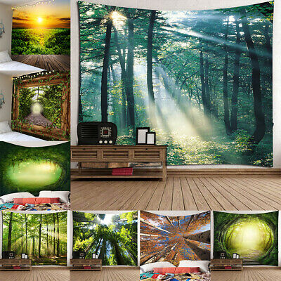Creative 3D Wall Hanging Tapestry Beach Towel Forest Round Vine Trail Design