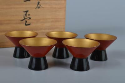 K2478:Japan Wooden Lacquer ware Gold color SAKE CUP Sakazuki 5pcs w/signed box