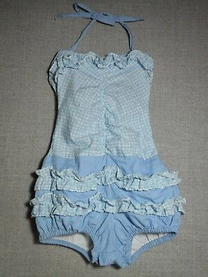 Girls Vintage Baby Blue/white Checked Ruffly Smocked Beach Romper Sz Tag Faded