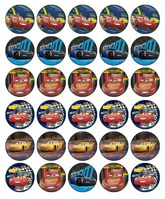 """30 CARS 3 1.5"""" ROUND (35mm) EDIBLE WAFER PAPER CUPCAKE CAKE TOPPERS #1"""