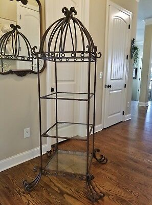 Vintage Horchow Neiman Marquis Heavy Wrought Iron Curio Display Shelf Cabinet 74