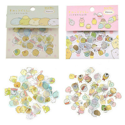 80x Japanese Sumikko Gurashi Stickers Flakes Bag Sack Animals DIY Scrapbooking