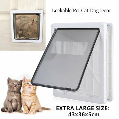 PET MATE LOCKABLE DOOR FLAP WHITE FOR CAT DOG Frame Security Brushy AUS White T2