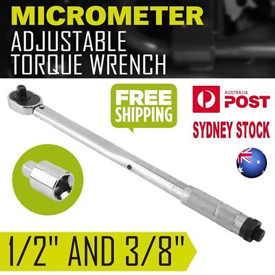 """AU Local Adjustable 1/2"""" and 3/8"""" Dual Drive Micrometer Torque Ratchet Wrench B0"""
