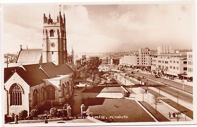 RP Postcard Plymouth  St Andrews Church and Royal Parade Cars Bus Devon