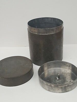 Antique Chinese Pewter Etched Tea Caddy With Dragon Seal Original Condition