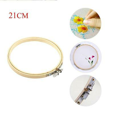 Wooden Cross Stitch Machine Embroidery Hoops Ring Bamboo Sewing Tools 21CM T々
