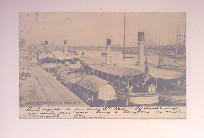 Real Photo Postcard Philippines Launches Boats On Pasig River Manila Posted 1906
