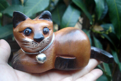 Hand Carved Wooden Cat Figurine Crafted Wood Kitty Kitten long tail gift art kid