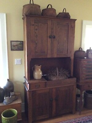 Antique dry sink cupboard cabinet