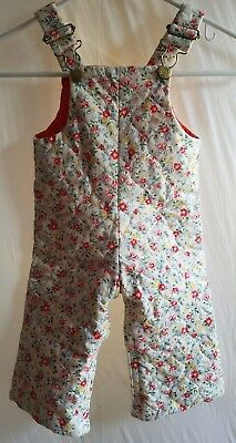 Vintage Freitex Girls Floral Print Padded Quilted Overalls 18 Months Cotton