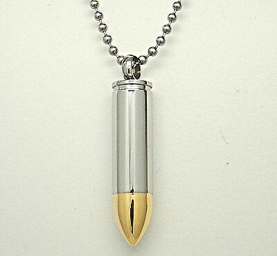 Engraveable Two-Tone Silver Gold Bullet Urn Necklace, Cremation Ashes Keepsake