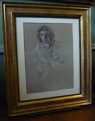Jacob Kramer drawing of his sister, and an oil painting Rabbis. 2 items.