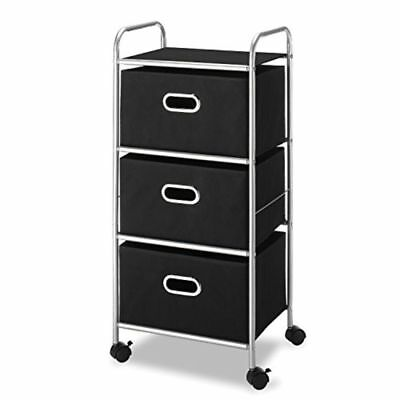 3 Drawer Rolling Cart Storage Organizer with Handles and Wheels Black & Silver