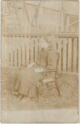 GREENOCK LADY Sitting in a Chair in Garden Vintage Real Photo PC 1908