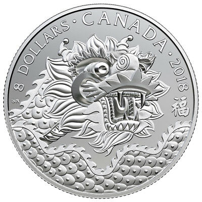 2018 Canada Dragon Luck 1/4 oz Silver Matte Proof $8 Coin GEM Proof OGP SKU52356