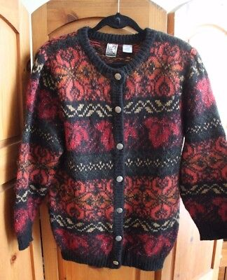 Vintage 1980s Black Red Sparkle Mohair Button Down Cardigan Sweater 80s Oversize