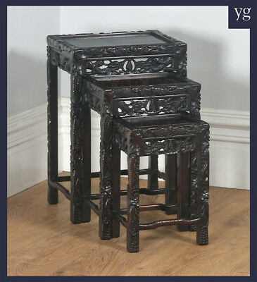 Antique Chinese Oriental Qing Dynasty Set Three 3 Carved Nest of Tables (c.1900)