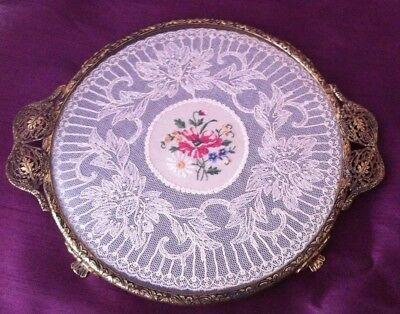 Antique Filigree Ormolu Brass Lace Embroidery Circular Tray Vanity Dressing