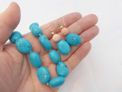 9ct/9k gold large Turquoise & angel coral necklace & matching drop earrings, 375