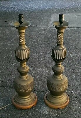 Pair James Mont AlterSticks Chinese Bronze  LAMPS Midcentury HUGE  Estate