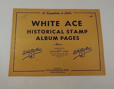 """White Ace United States Airmail Supplement """"AMB-5"""" 1960 Stamp Album Pages Blocks"""