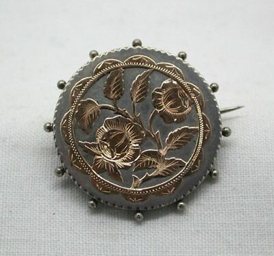 Victorian 1887 Lovely Silver And Rose Gold Brooch