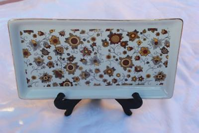 """Zajecar 10"""" Serving Tray, Floral Pattern Gold and Silver Colors Gold Rim"""