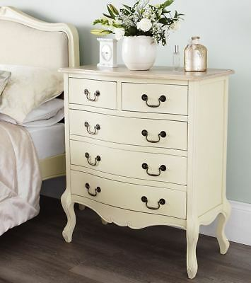 Juliette Shabby Chic Champagne chest of drawers. 5 Drawer Chest ASSEMBLED