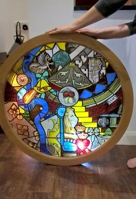 Stained glass oak framed circular panel-unique composition of Cockney slang
