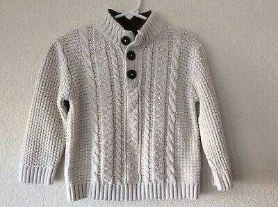 Cherokee Toddler Boys Cable Knit Ivory Sweater Size 3T 100% Cotton