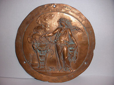 Great antique bronze oval neoclassical Roman or Greek muse high relief plaque