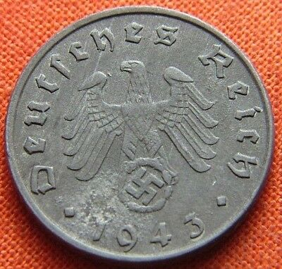 Wwii German 1943 - G 5 Reichspfennig 3Rd Reich Zinc Nazi Germany Coin Wc2121
