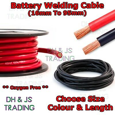 Flexible PVC Battery Welding Cable 110 - 500 Amp 16mm - 95mm Black & Red OFC