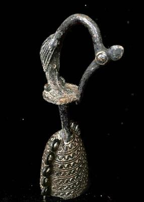 Old  Tribal Tribal Benin Bronze Bell With a carved Cockerel     ----Edo, Nigeria