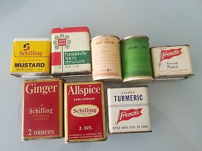 Lot Of 8 Vintage Spice Tins Ann Page Schilling & French's
