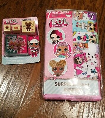 Lol Surprise Girls Panties Underwear 7 Pack Stamp Bundle Set Sz 6 8 New