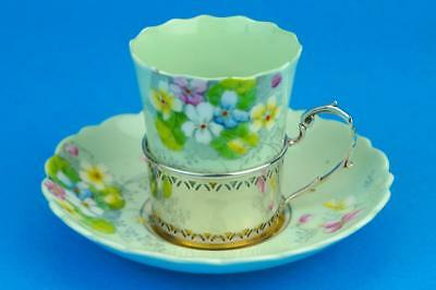 PARAGON Mint Green VIOLETTA Coffee Can Saucer & HM SILVER Cup Holder BIRM 1933
