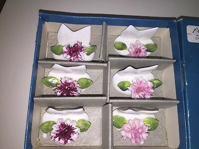 Vintage Set 6 Coalport English Bone China Place Card Holders Sculpted Flowers