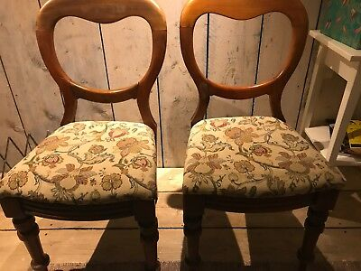Set of four Victorian balloon back chairs