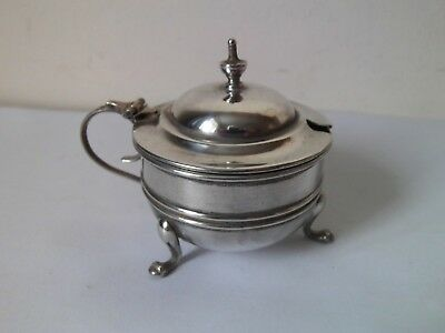Solid Silver Mustard Pot with Blue glass liner, C T Burrows & sons, Birmingham