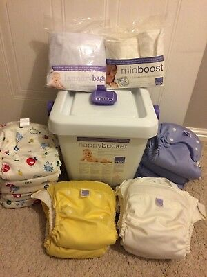 Bambino Miosolo Bundle Reuseable 16 nappies, nappy bin, boosters, liners & more!